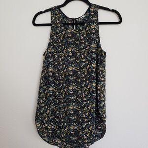 WILFRED Aritzia Black Floral Silk Tank Top